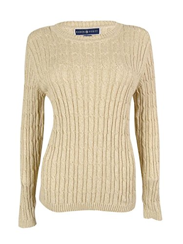 Karen Scott Women's Crew Neck Cable Pullover Sweater (L, Khaki MARL) Marl Cable