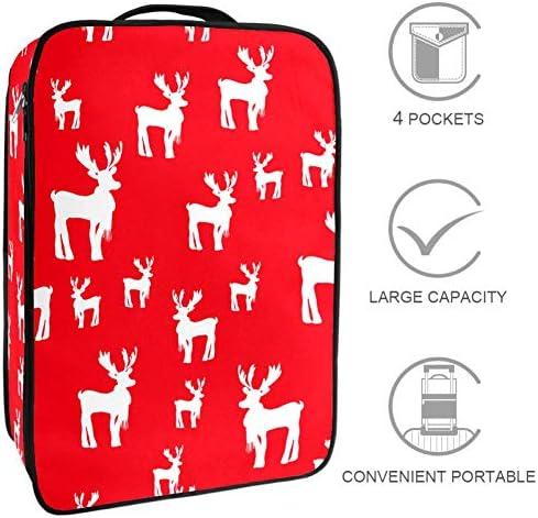 MYSTAGE シューズバッグ 靴箱 シューズケース シューズ袋 旅行収納ポーチ 二層式 靴入れ 小物収納 収納ケース アウドドア 出張 旅行 白い 鹿 シルエット 赤い