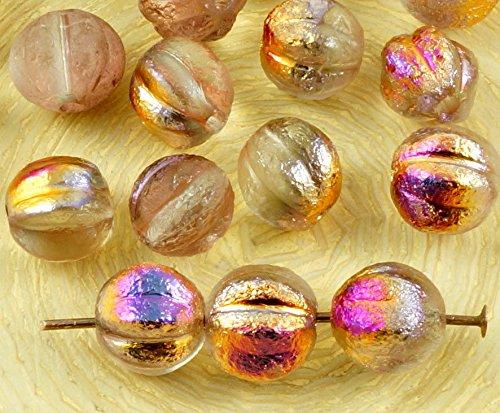 16pcs Crystal Metallic Sliperit Iris Gold Purple Half Rough Rustic Etched Frosted Round Melon Halloween Pumpkin Fruit Czech Glass Beads (Frosted Metallic Iris)