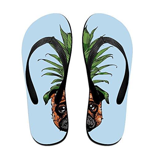 Unisex Summer Pineapple Pug Beach Slippers Home Flip-Flop Flat Thong Sandal (Mens Sheepskin Pug Boots)