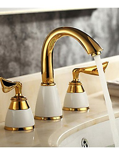 3-Pcs-Golden-Color-Tap-2-Handle-Waterfall-Tap-Bathroom-Basin-Sink-Bathtub-Mixer-Tap