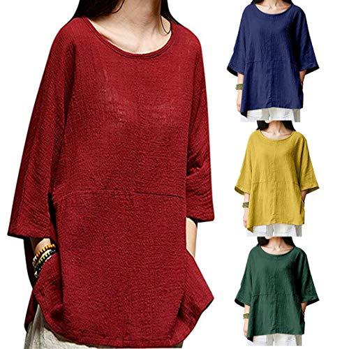 Shirt 4 Coton Pure Blouses Tops en Sixcup Laches dcontract Chemise Lin Chemisier Shirt Couleur Rouge Vin Haut 3 Manches T Tee fxIq1Z