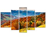 """Barnyard Designs Fall Foliage: Huge 40"""" x 68"""" Framed 5 Panel Canvas, Ready to Hang - Wall Art for Home Decoration"""