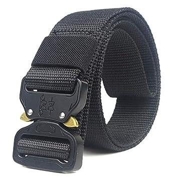 HOTSO Nylon Cinturón Táctico, Pretina Militar al Aire Libre 130cm Longitud Lona Transpirable Ceñidor para Hombre y Mujer Cintura con Hebillas de Metal ...