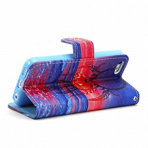 LEMORRY iphone 5 5S Portefeuille Rabat Coque Etui, Sunset & Dreamcatcher Protecteur Soft Silicone TPU Housse + Durable PU Cuir Cartes Fente Stand-View Bumper Magnétique Pochette