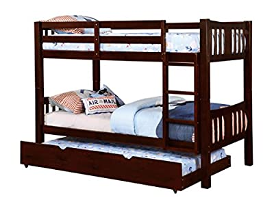 Furniture of America 2 Piece Davis Transitional Bunk Bed with Trundle Set, Twin/Twin, Blue