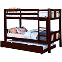 Furniture of America 2 Piece Davis Transitional Bunk Bed with Trundle Set, Twin/Twin, Dark Walnut