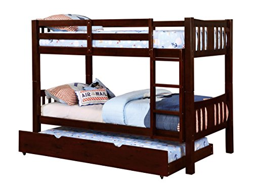 Furniture of America 2 Piece Davis Transitional Bunk Bed with Trundle Set, Twin/Twin, Dark Walnut by Furniture of America