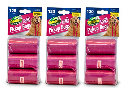 OdoBan Pet Solutions Dog Waste Pickup Bags, 3 Pack, 120 Count Each