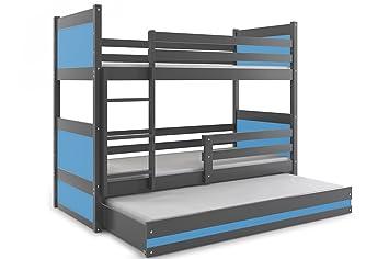 3 Etagenbett Für Drei Kinder : Interbeds etagenbett rico 3 für drei kinder 200x90cm farbe: grau