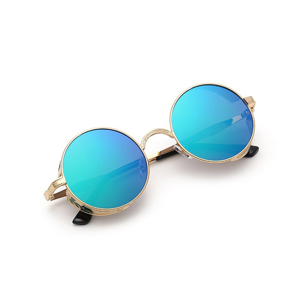 fa41ff06d3d1 Coolsunny Vintage Hippie Retro Metal Round Circle Frame Sunglasses CS1039 (New  Gold-Green