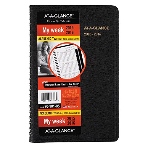 AT-A-GLANCE Weekly Planner / Appointment Book, Academic Year, 14 Months, July 2015-August 2016, 4.88 x 8 Inch Page Size (70-101-05)
