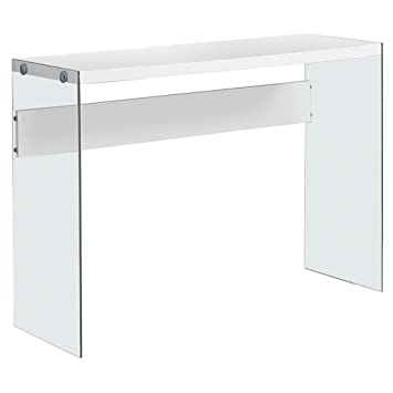 monarch specialties i console sofa table tempered glass glossy white 44u0026quot