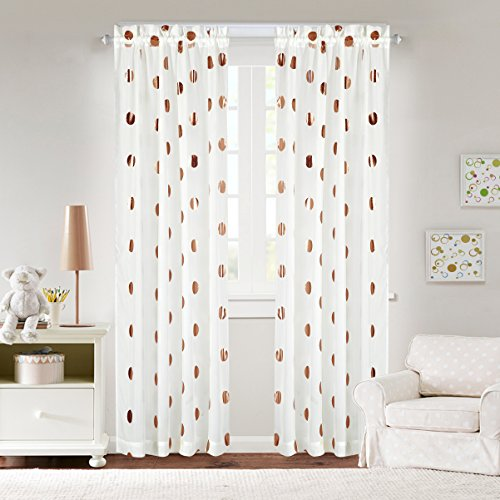 Idea Nuova Metallic Dot Window Curtain Panel, 84-Inch, Rose Gold