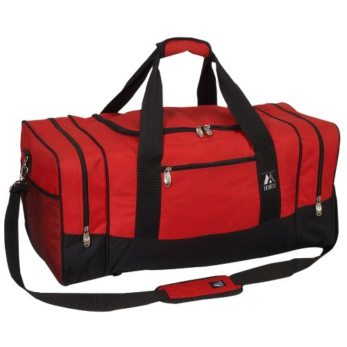 Everest Luggage Sporty Gear Bag - Large, Red/Black, Red/Black, One Size
