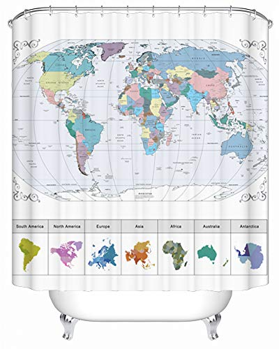 Maxwelly World Map Shower Curtain Fabric Bathroom Shower Curtain Polyester Waterproof Bath Curtain with Hooks, 72 x 72 Inch, Colorful (Curtain Fabric World Shower)