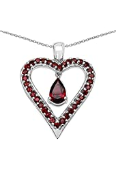 Natural Garnet Heart Shaped Pendant Necklace in 92.5 Sterling Silver. 18 inch long Sterling Silver chain