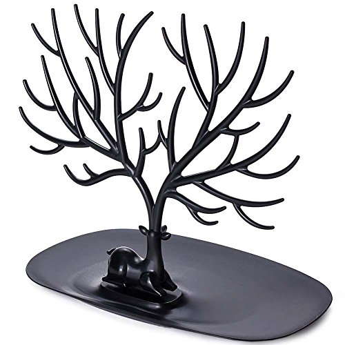 Antlers Jewelry Organizer - Hanging Stand Display Earring Necklace Bracelet Holder Rack Tower Tree ABS- Black ()