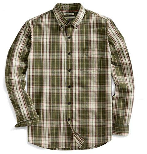 Goodthreads Mens Standard-Fit Long-Sleeve Plaid Slub Shirt