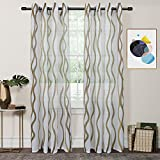 FY Fiber House Woven Sheer Voile Window Curtains with Grommet Panels for Living Room, 2 Panels,54 by 84-Inch, Ombre Brown For Sale