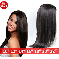 "S-noilite 12 Inch Brazilian Virgin Human Hair Full Lace/Lace Front Wig Long Curly Straight Black Hair Women Ladies Costume Full Head Wig (Lace front wig human hair wig, 12"" Straight)"
