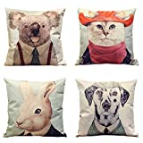 Decorative Pillow Cover - 4 Packs Square Pillowcases - 20 X 20 Inch Decorative Throw Pillow Cover by Hippih , Animal Series