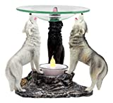 Ebros Moonlight Colorful Three Howling Wolves Oil Warmer Or Wax Tart Burner Aroma Scent Diffuser Statue Faux Stone Resin Wolf Themed Decorative Figurine