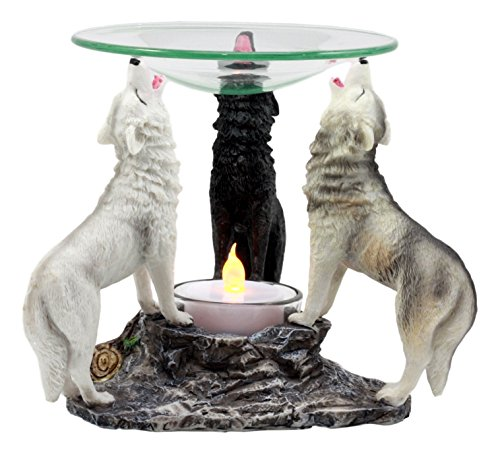 Ebros Moonlight Colorful Three Howling Wolves Oil Warmer Or Wax Tart Burner Aroma Scent Diffuser Statue Faux Stone Resin Wolf Themed Decorative Figurine (Candle Glass Oil Unity)