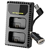 Nitecore USN1 Digital Dual Slot Travel Camera Charger for Sony NP-FW50 Batteries, Compatible with a5000, a5100, a6000, a6300, a6500, a7, a7 II, a7R. a7R2, a7S, a7s II, DSC-RX10s and LumenTac Adapter