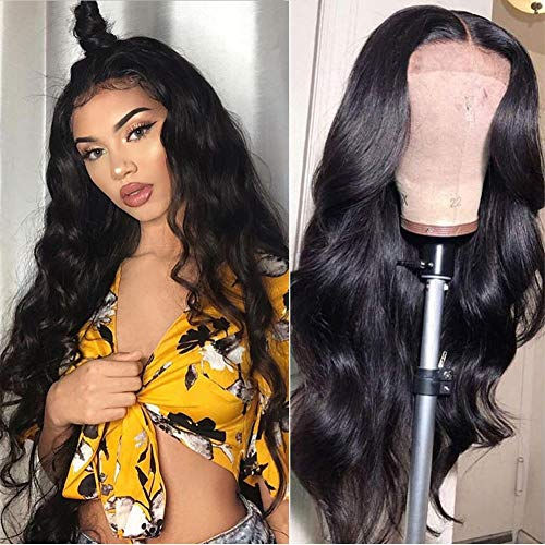 Cheap URALL Hair 20inch Brazilian body wave Lace Front wigs human hair 150% Density Unprocessed Virgin human hair wigs for black women Pre Plucked Natural Black human hair wigs brands