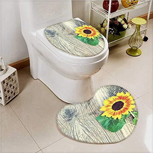 aolankaili Toilet Heart Shaped Foot pad Sunflower Sunflower on Wooden