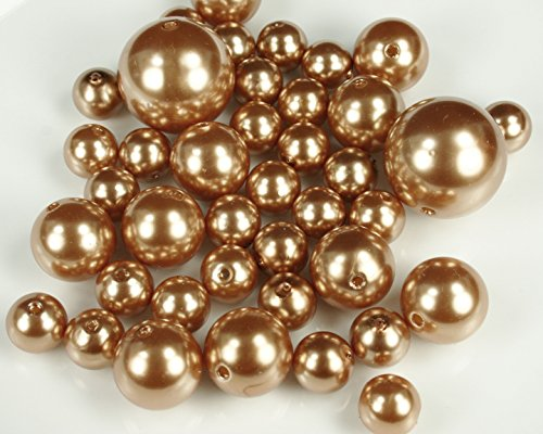 DPC Dreampartycreation Elegant Vase Fillers 250 Assorted Pearls Beads Wholesale Bulk Buy!!! (Antique Gold)