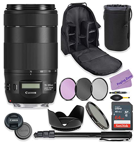 Canon EF 70-300mm f/4-5.6 is II USM Lens Bundle with Premium Accessories Including 64GB Sandisk Memory, ND Variable Filter, Backpack, Monopod, High Def Filter Kit & More.