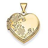 ICE CARATS 14kt Yellow Gold 18mm Heart Shaped Floral Photo Pendant Charm Locket Chain Necklace That Holds Pictures Fine Jewelry Ideal Gifts For Women Gift Set From Heart