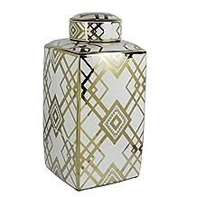 Benzara Captivating Square Decorative Ceramic Jar, White and Gold