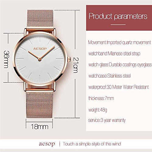 Ultra Thin Watches for Women,Rose Gold Ladies Watch Water Resistant Mesh Band Luxury Sports Womens Watches Analog Japanese Quartz Wrist Watches Female Watches on Sale,Black Dial,Big Face,AESOP Brand by XIN LINGYU (Image #8)