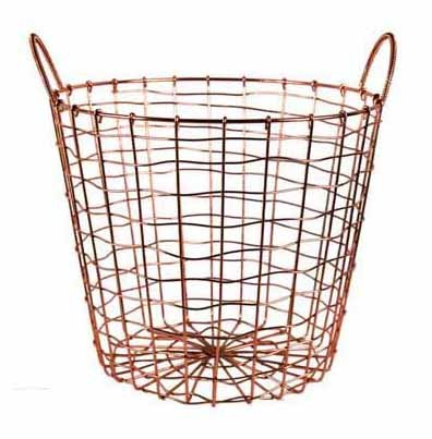 - Wire Storage Basket and Waste Bin - Copper Plated Metal Bin with Two Handles for Office, Bedroom, Living Room, Closet and More - by Designstyles
