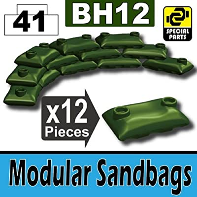 Custom Tank Green Army Sandbags Designed for Toy Brick Minifigures: Toys & Games