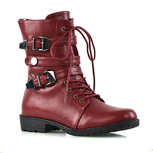 - ESSEX GLAM Womens Mid Calf Boots Lace Up Zipper Buckle Burgundy Synthetic Leather Military Biker Boots 8 B(M) US