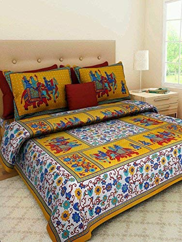 BedZone 100 % Pure Cotton Jaipuri Rajasthani Traditional Double Bedsheet with 2 Pillow Covers – Double ,Yellow