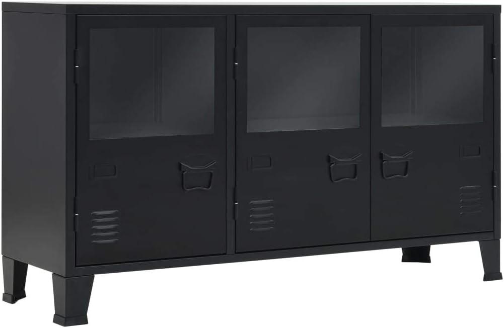 vidaXL Aparador Negro Metal Estilo Industrial 120x35x70 cm Buffet Cómoda Salón
