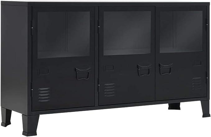 vidaXL Aparador Negro Metal Estilo Industrial 120x35x70 cm Buffet Cómoda Salón: Amazon.es: Hogar