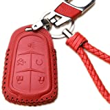 Womens Red Leather Car Remote Key Fob Holder Case Cover Etui Shell with Braided Key Chain & Key Rings for 5 Buttons New Cadillac ESV Escalade GTS CTS XTS SRX ATS XT5 CT6 Auto Accessories Gift