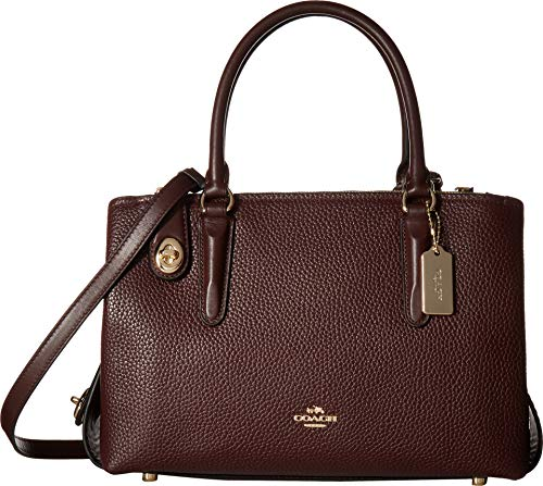 COACH Women's Pebbled Brooklyn 28 Carryall LI/Oxblood Satchel