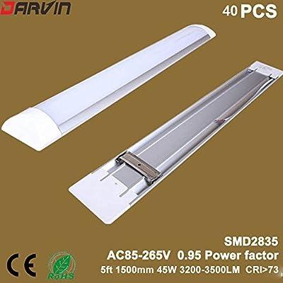 Clean Purification Light 5ft Clean Lamp Tri-proof Lights 45W 1500mm SMD2835 LED Chip 110v 220v 40pcs/Lot (Nature White 4000-4500K, Milky Cover)