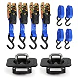 Bull Ring Ratchet 4 pack with 1 pair Bull Ring Tie Downs Included for 2015-18 F 150 and 2017,18 Super Duty Trucks