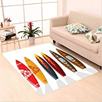 Nalahome Custom carpet tion of Boards with Hawaiian Patterns and Flames Mask Active Full of Life Stylish Swim Image Red area rugs for Living Dining Room Bedroom Hallway Office Carpet (5 X 7)