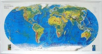 Amazoncom WORLD GEOPHYSICAL Raised Relief Map With Black - Raised relief map
