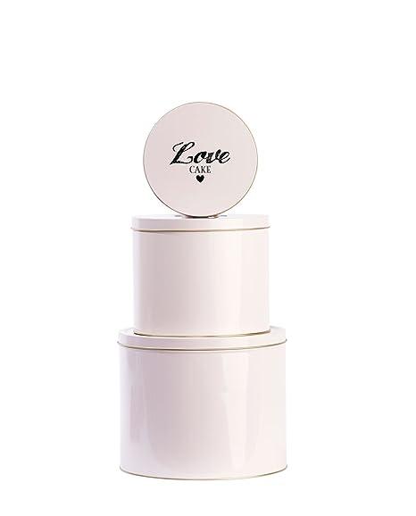Miss Etoile Storage Tin Set Of 3 Round Boxes Love Cake Design Pink