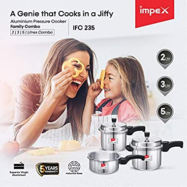 Impex IFC 235 Induction Base Aluminium Pressure Cooker Family Combo Set with Outer Lid (Silver, 2, 3 and 5 L) 14
